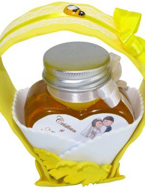"Marturii dulci cu miere, model handmade ""Cupe cu nectarâ€� – galben, borcan 90 gr  – DSBC1679"