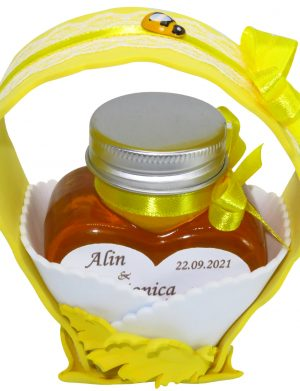 "Marturii dulci cu miere, model handmade ""Cupe cu nectarâ€� – galben, borcan 90 gr – DSBC1678"