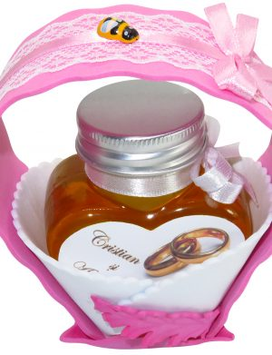 "Marturii dulci cu miere, model handmade ""Cupe cu nectarâ€� – roz, borcan 90 gr – DSBC1681"