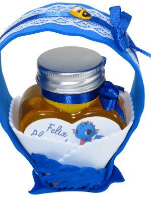 """Marturii dulci cu miere, model handmade """"Cupe cu nectarâ€� – albastru , borcan 90 gr – DSBC1671"""