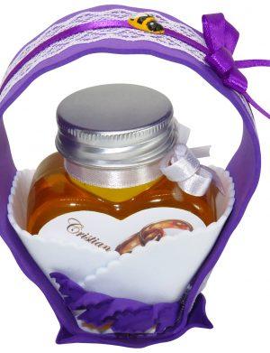 "Marturii dulci cu miere, model handmade ""Cupe cu nectarâ€� – mov, borcan 90 gr  – DSBC1675"