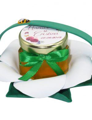 "Marturii dulci cu miere, model handmade ""Zumzet dulceâ€� – verde alb, borcan 50 gr – DSBC1683"