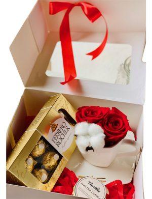 Cutie cadou cu farfurie si ceasca, 2 trandafiri criogenati + 1 floare bumbac, cutie 8 bomboane Ferrero Rocher, borcan cu lumanare, YODB017