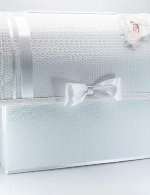 Cutie Dar Nunta cu fundite 40x27x35 cm, carton decorat cu model texturat din plastic – ILIF1817