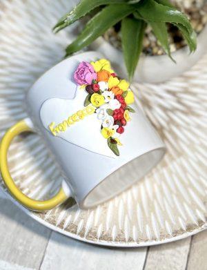 "Cana fimo ""YellowFeeling"", decorata manual, AHGL13449"