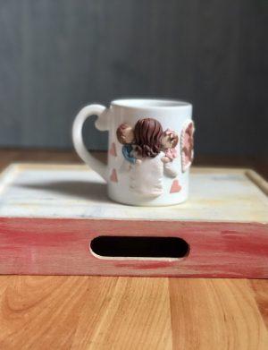"Cana decorata cu pasta polimerica fimo ""Hug"", decorata manual, AHGL13377"