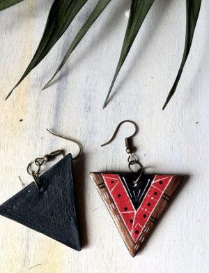 """Cercei triunghi rosu """"Aztec4"""""""