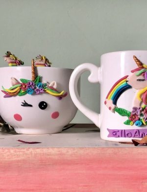 """Set fimo (cana si accesorii) """"Unicorn"""", decorata manual, AHGL13009"""