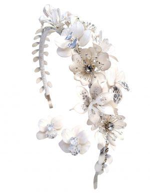 Diadema asimetrica cu flori si cristale