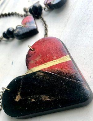 "Set pandantiv + cercei inima ""Red Heart"", AHGL12829"