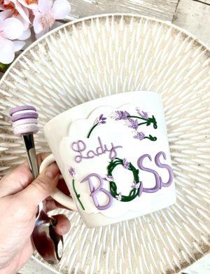"""Cana fimo """"LadyBoss"""", decorata manual, AHGL13451"""