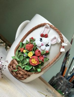 "Cana fimo ""Iepurasul din flori"", decorata manual, AHGL13003"