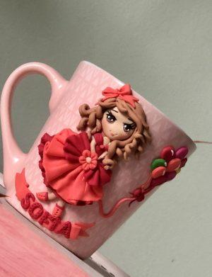"""Cana fimo """"Princess"""", decorata manual, AHGL13207"""