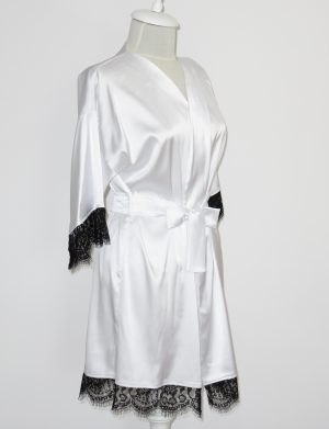 Halat satinat cu dantela Bride, alb – AGB1102