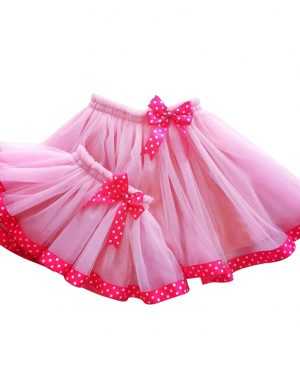 Set fuste mama- fiica din tull roz ACC1807