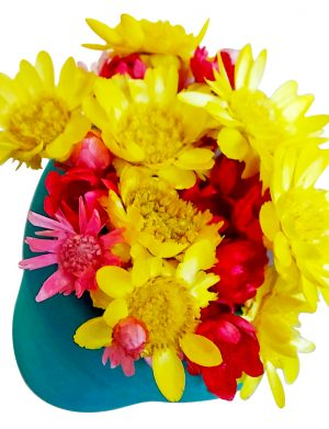 Marturie jumatate de ghiveci cu magnet si flori uscate AMB26036