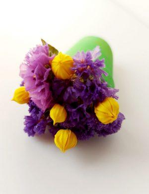 Mărturie jumatate de ghiveci cu magnet si flori uscate AMB26035