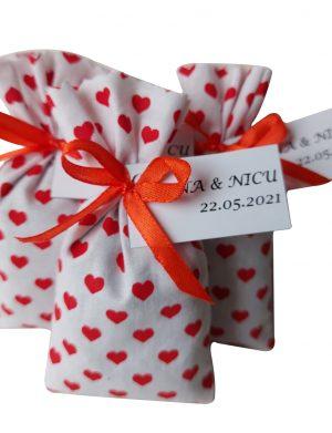 Mărturie săculeț de lavanda, model cu inimioare AMB31034