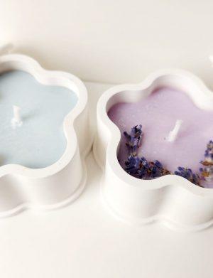 Decoratiune, marturie lumânare in ceramica turnata manual, floricica AMB26039