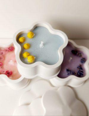 Decoratiune, marturie lumanare in ceramica turnata manual, floricica AMB26039