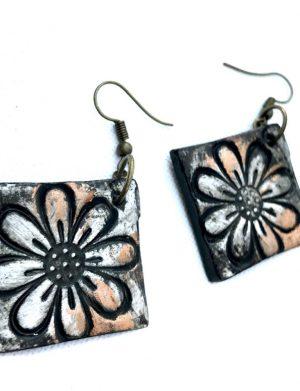 Cercei Pictati Floare Neagra