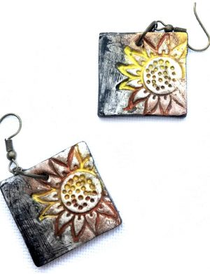Cercei Pictati Floarea Soarelui