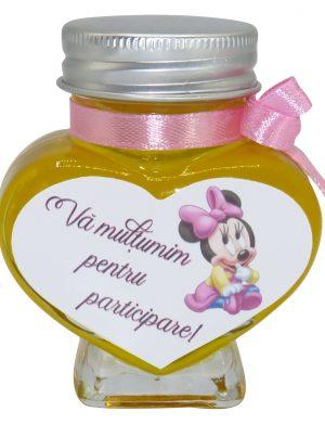 "Marturii dulci cu miere, Nepersonalizat, model handmade ""Iubire� – roz baby Minnie, borcan 90 gr – DSBC162"