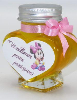 "Marturii dulci cu miere, Nepersonalizat, model handmade ""Iubire"" – roz baby Minnie, borcan 90 gr, Livrare in 48 ore – SDSBC162"