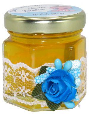 "Marturii dulci cu miere, model handmade ""Adiereâ€� – albastru, borcan 50 gr – DSBC163"
