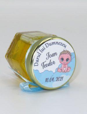 """Marturii dulci cu miere, model handmade """"Iubireâ€� – bleo, borcan 50 gr – DSBC164"""