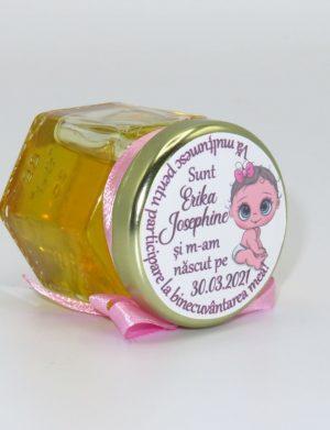 "Marturii dulci cu miere, model handmade ""Iubireâ€� – roz, borcan 50 gr – DSBC165"