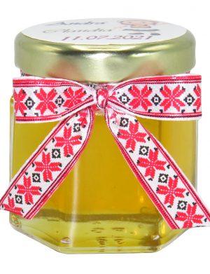 "Marturii dulci cu miere, model handmade ""Voie buna� – traditional rosu, borcan 50 gr– DSBC166"