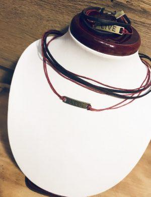 """Set choker + bratara rosu cu negru """" Live"""", AHGL12663"""