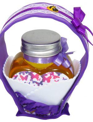 "Marturii dulci cu miere, model handmade ""Cupe cu nectarâ€� – mov, borcan 90 gr – DSBC1696"