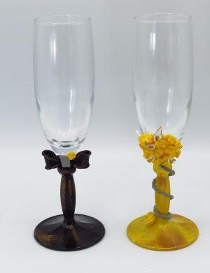 Set 2 pahare handmade pentru miri sau nasi, SAHGL171