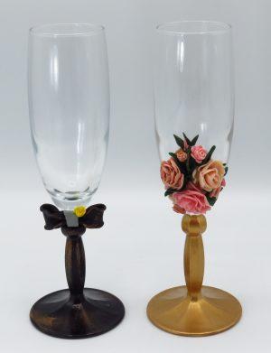 Set 2 pahare handmade pentru miri sau nasi, SAHGL172