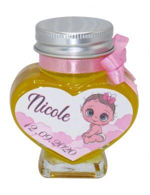 "Marturii dulci cu miere, model handmade ""Iubire� – roz, borcan 90 gr – DSBC1697"