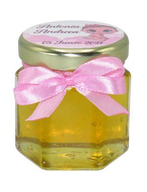 Marturii dulci cu miere, model handmade Iubire – roz, borcan 50 gr – DSBC1698