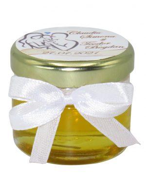 "Marturii dulci cu miere, model handmade ""Iubire� – alb, borcan 30 gr – DSBC1699"