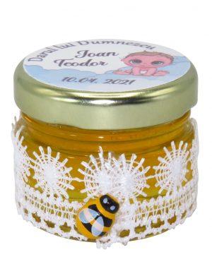 "Marturii dulci cu miere, model handmade ""Dorinta� – alb, borcan 30 gr – DSBC1670"