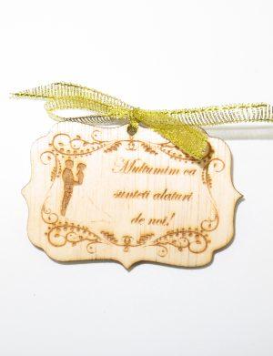 Marturie nunta 1, din lemn, nepersonalizata, maro cu fundita, (mostra), SOMIS1813