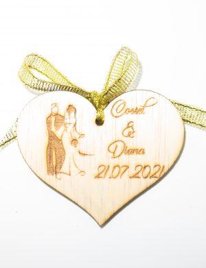 Marturie nunta 2, din lemn, personalizata, maro cu fundita, (mostra), SOMIS1814
