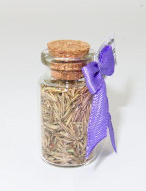 Marturie sticluta cu dop de pluta, cu seminte de lavanda, nepersonalizat, AMB182