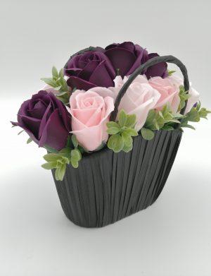 Aranjament Gentuta cu trandafiri de sapun, roz – mov, in gentuta neagra, DSPH1024