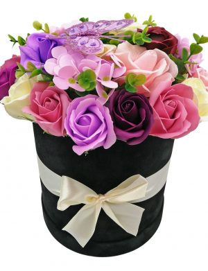 Aranjament Black Velvet, trandafiri de sapun roz, mov si crem, cutie de catifea  DSPH1025