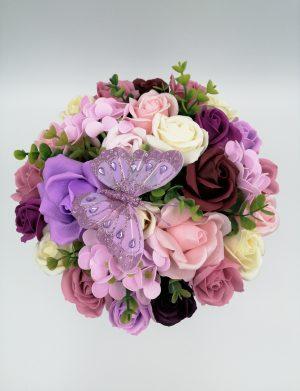 Aranjament Black Velvet, trandafiri de sapun roz, mov si crem, cutie de catifea, DSPH1025