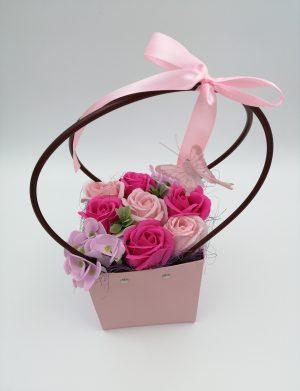 Aranjament Cosulet cu trandafiri de sapun Roz – Lila, DSPH1026