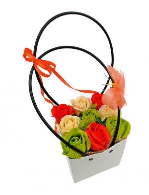 Aranjament Cosulet cu trandafiri de sapun verde – portocaliu, DSPH1027