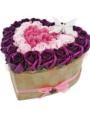 Aranjament Dark Purple Heart, trandafiri de sapun roz si mov, cutie de catifea, DSPH1021