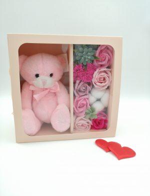 Set cadou Sweet Teddy Bear, trandafiri de sapun, ursulet de plus, DSPH10212